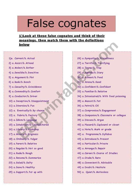 small resolution of False Cognates or False Friends - ESL worksheet by vickaf