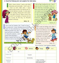 My Dream Job - Reading leading to Writing series for Upper elementary  students (1st 45 minute-lesson) - ESL worksheet by mena22 [ 1169 x 821 Pixel ]