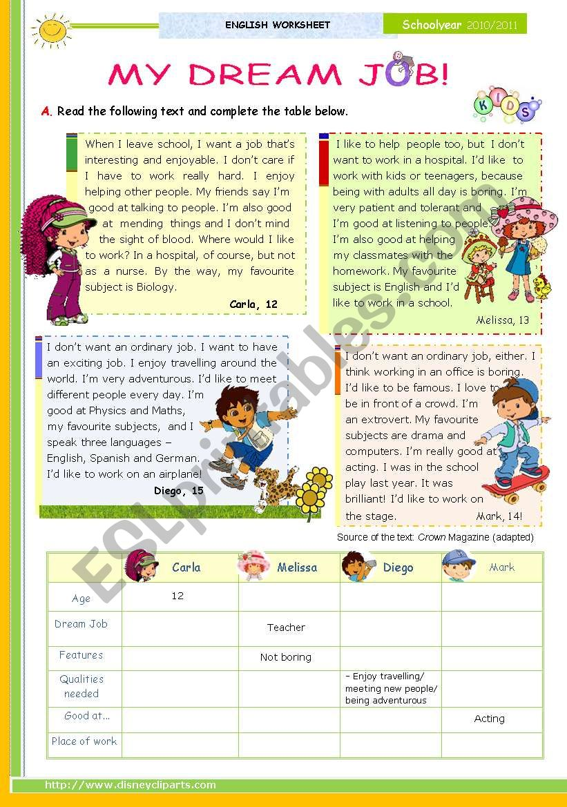 medium resolution of My Dream Job - Reading leading to Writing series for Upper elementary  students (1st 45 minute-lesson) - ESL worksheet by mena22