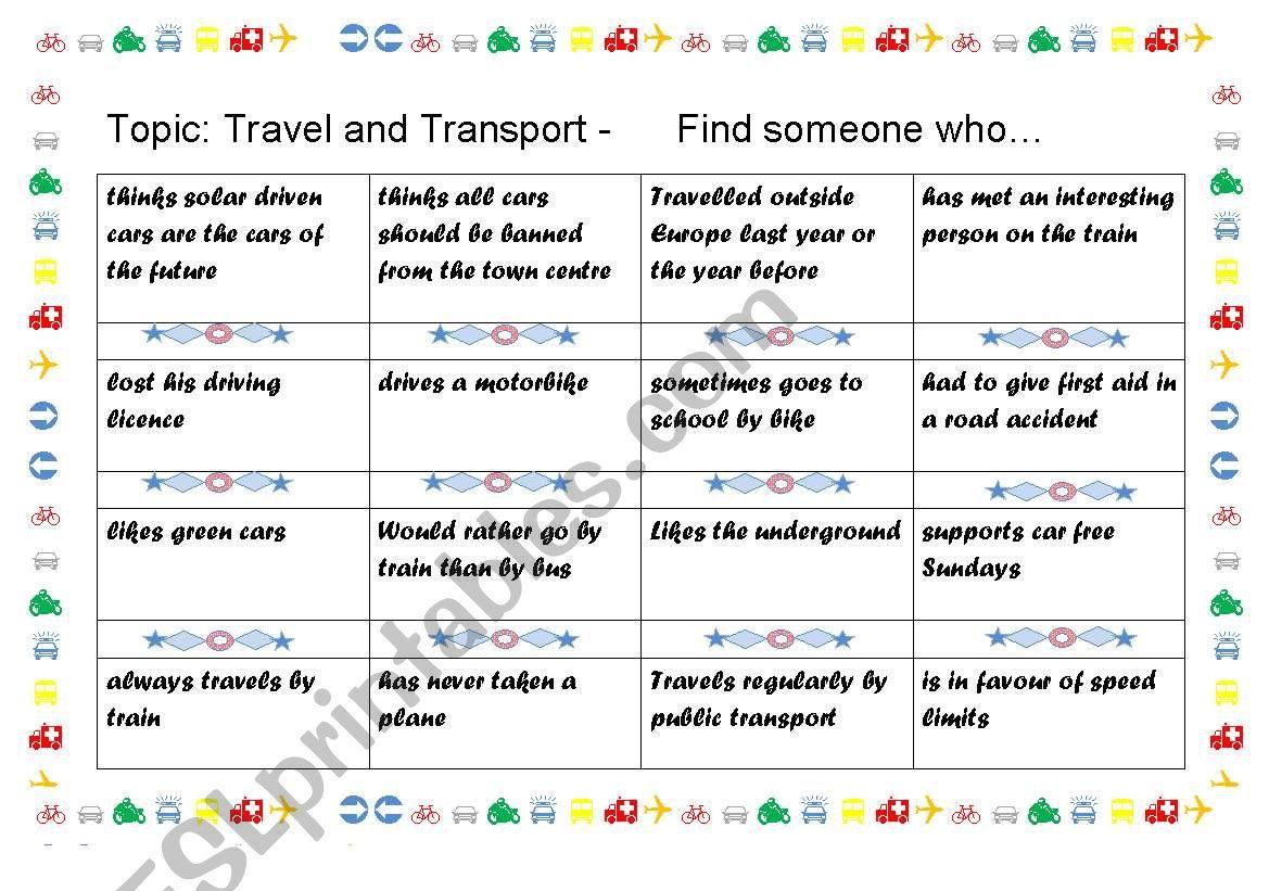 English Worksheets Bingo Travel And Transport
