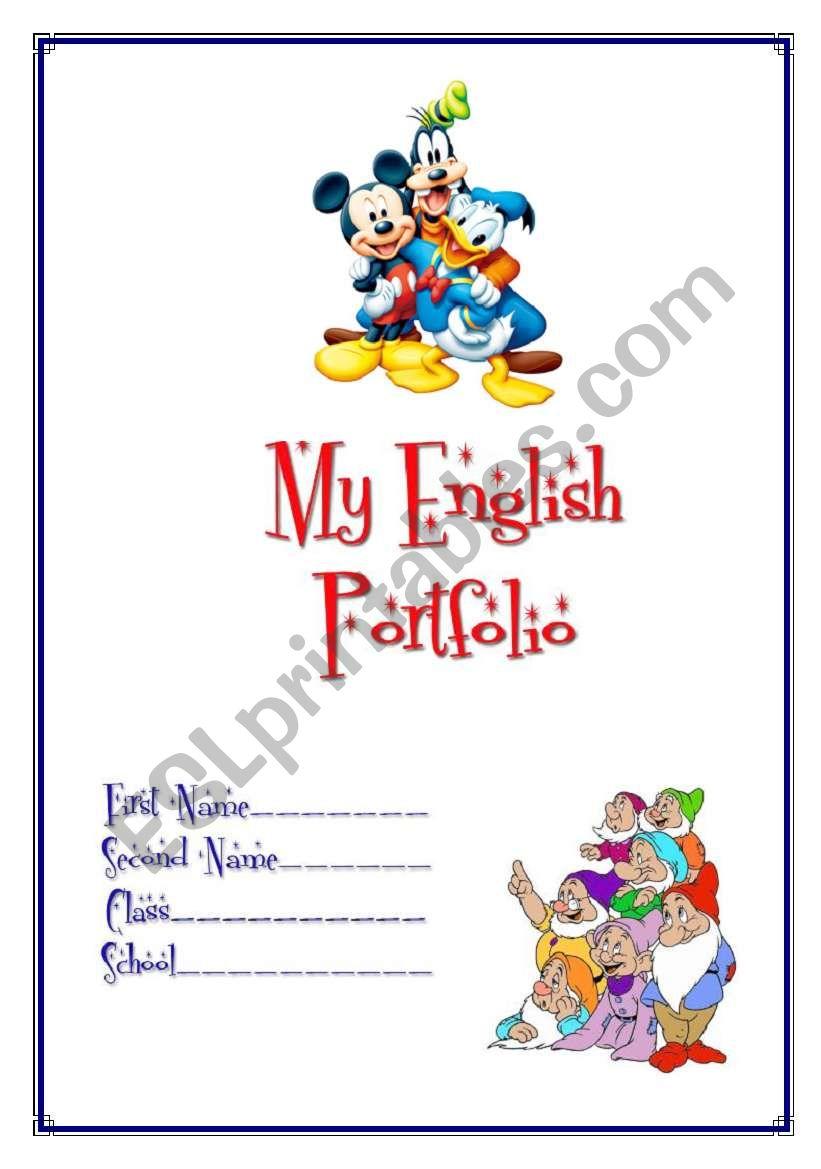 My English Portfolio 1 cover  ESL worksheet by Makol