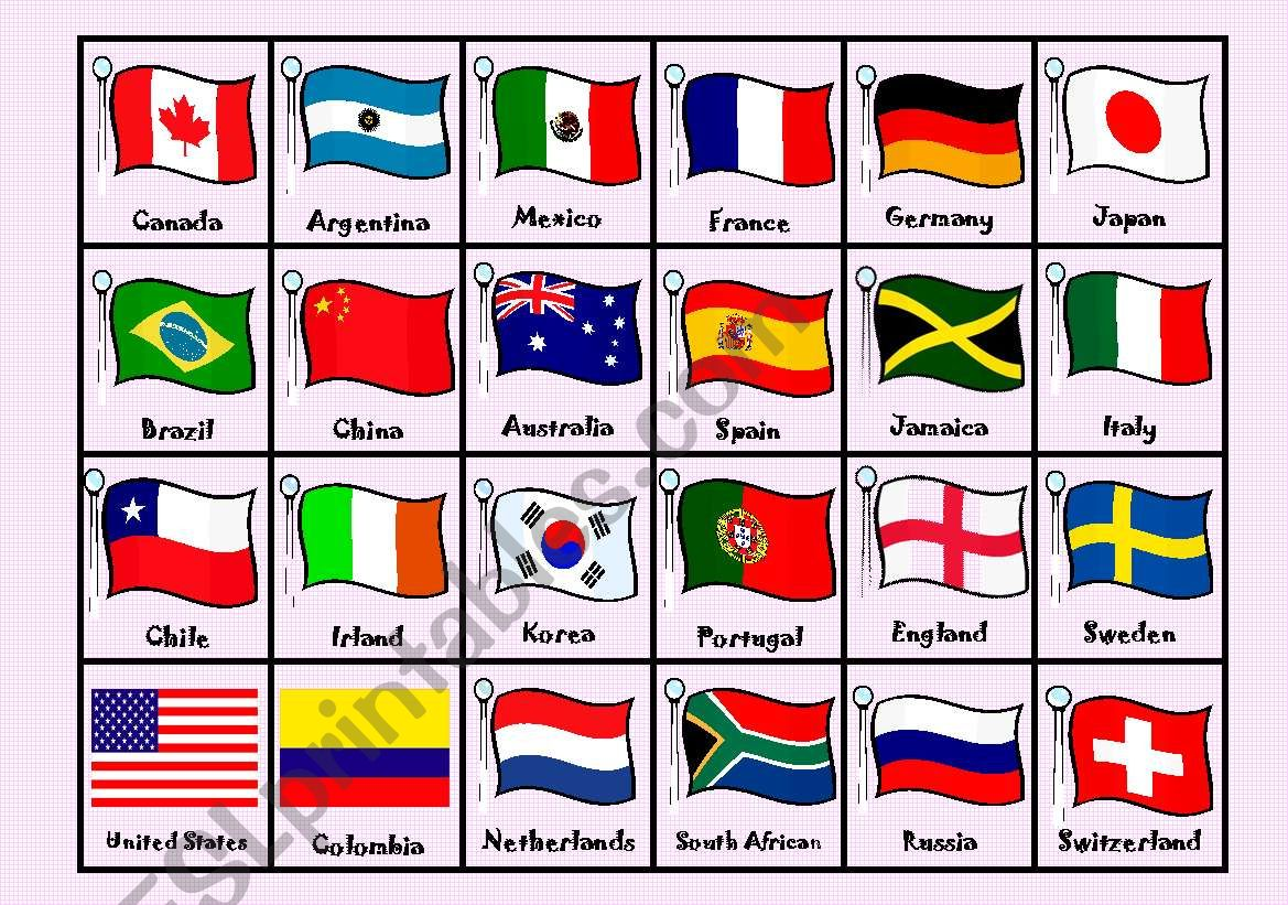 Bingo Countries Fully Editable
