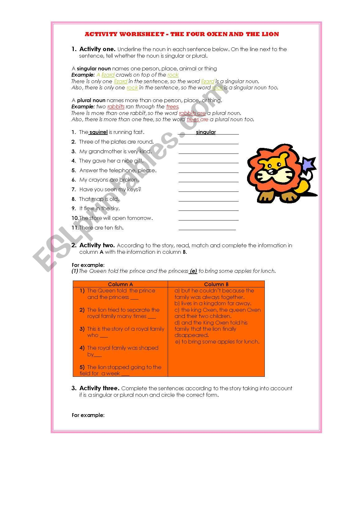 Vocabulary Worksheet Lion