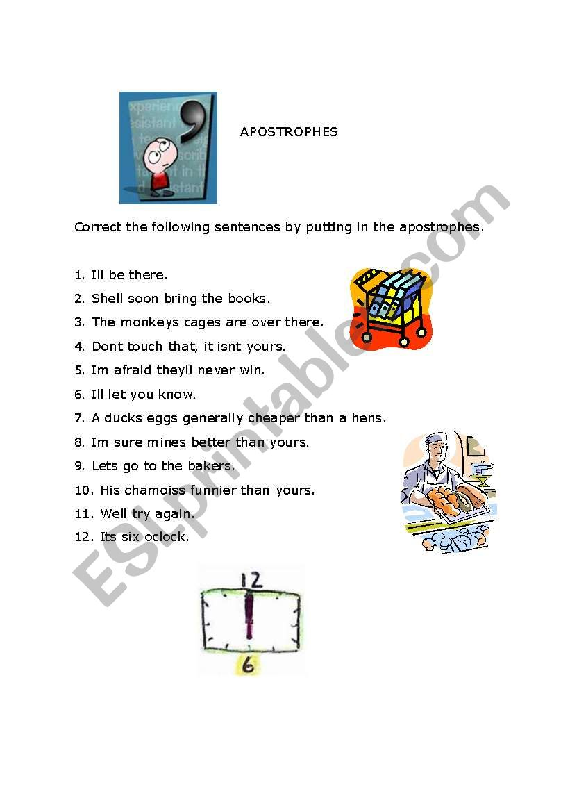 hight resolution of Apostrophes - ESL worksheet by DanielaA