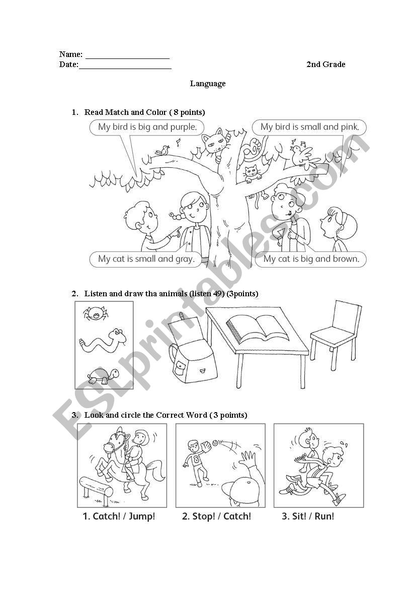 medium resolution of preposition and colors - ESL worksheet by el_ja