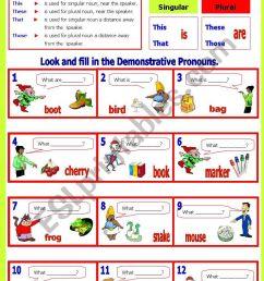Demonstrative Pronoun(s) - ESL worksheet by shusu-euphe [ 1169 x 821 Pixel ]