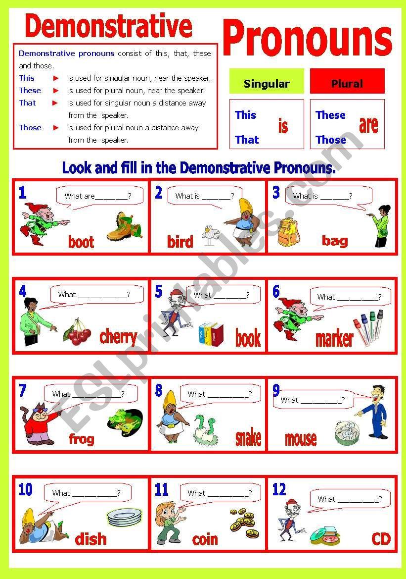 hight resolution of Demonstrative Pronoun(s) - ESL worksheet by shusu-euphe
