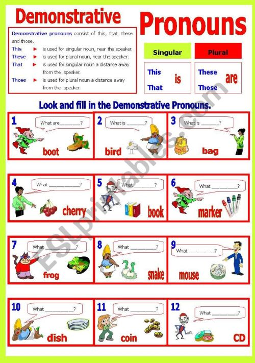 small resolution of Demonstrative Pronoun(s) - ESL worksheet by shusu-euphe