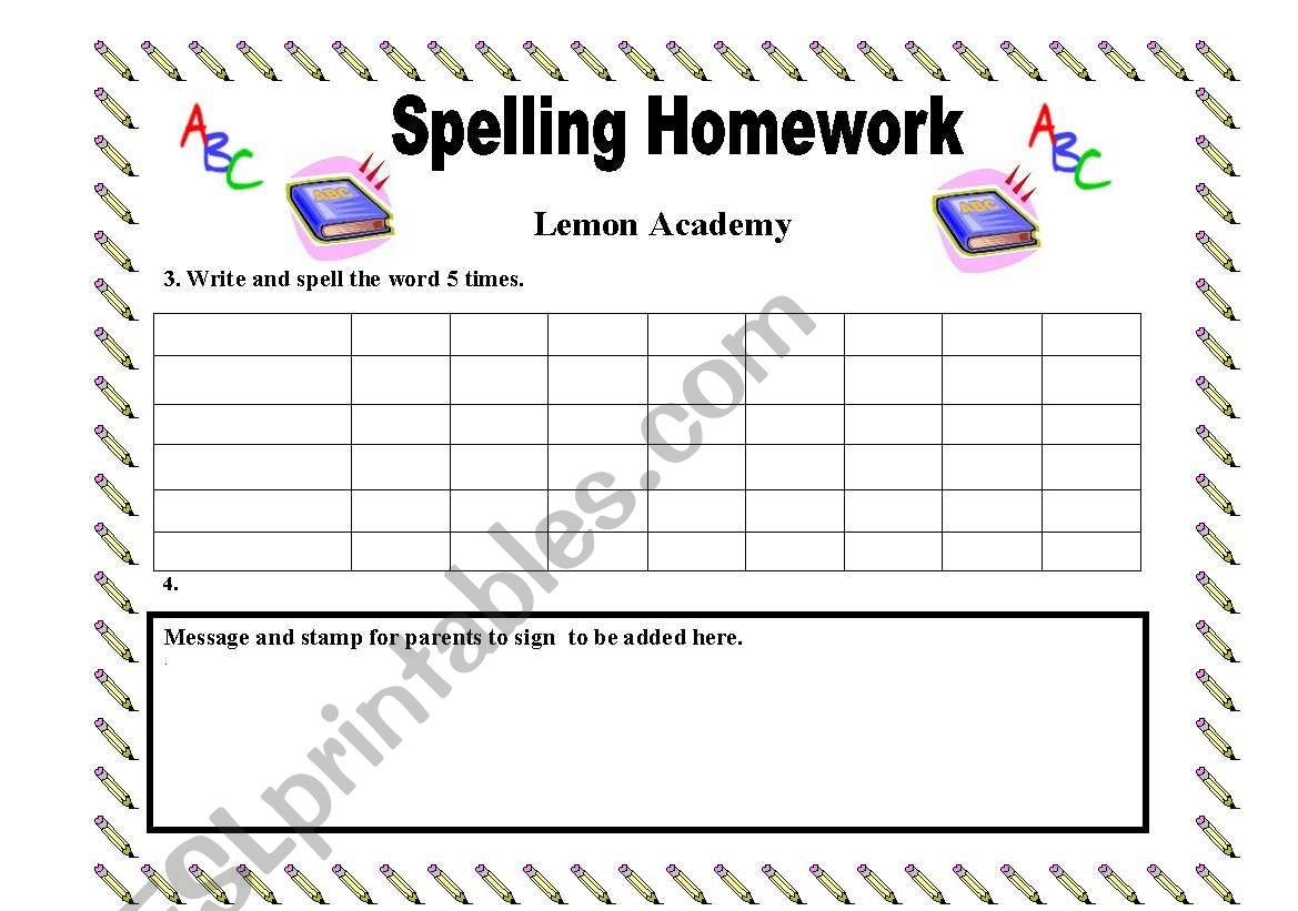 English Worksheets My English Spelling Homework