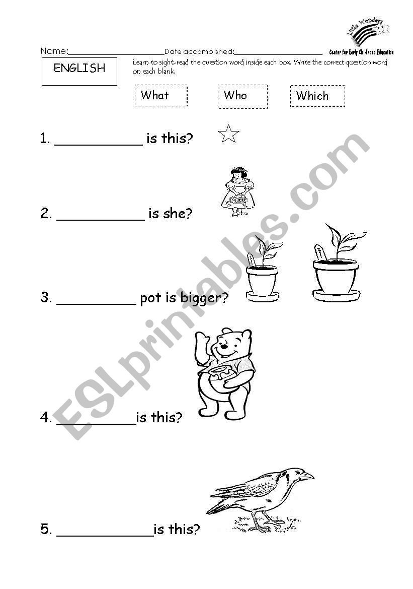 English worksheets: Basic Question Words