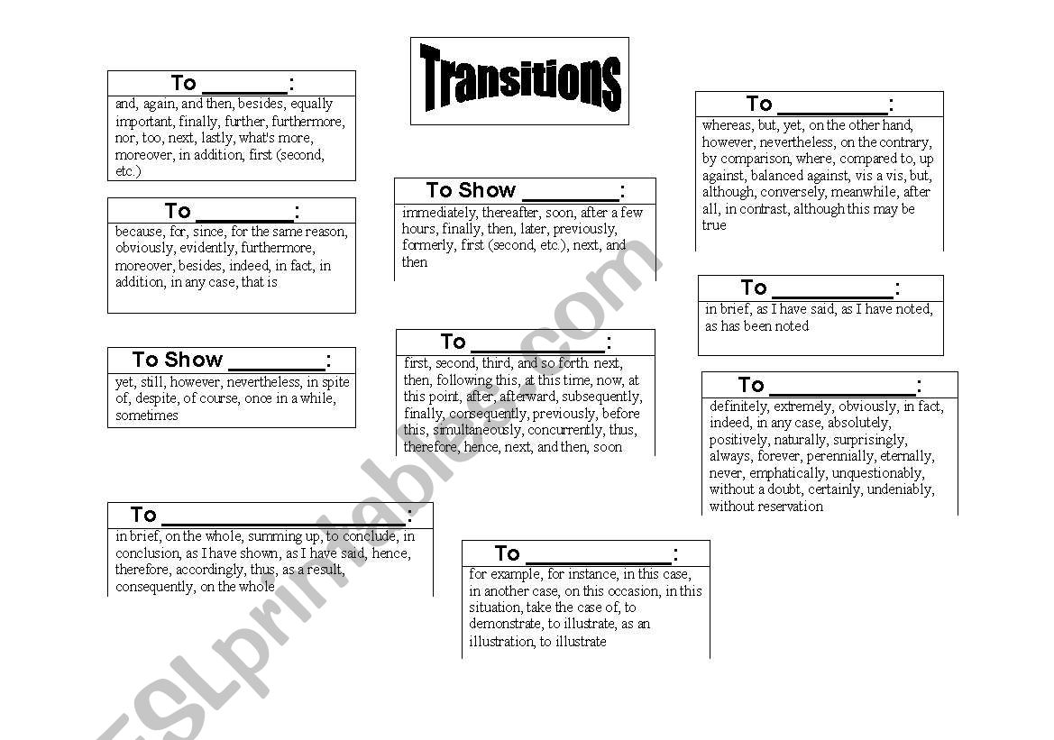 List Of Linking Words Or Transition Words