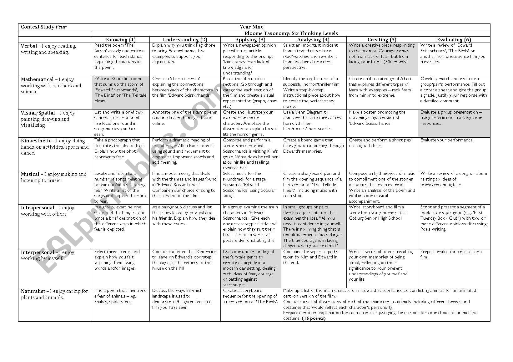 Fear Context Activity Grid