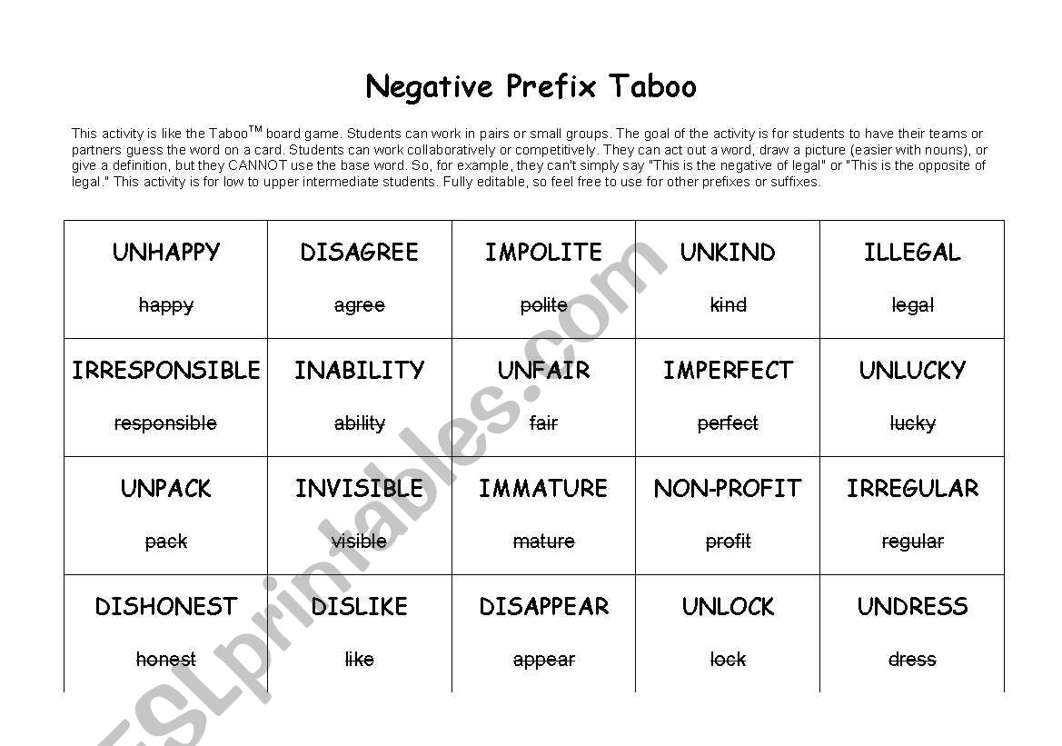 Negative Prefix Tabootm