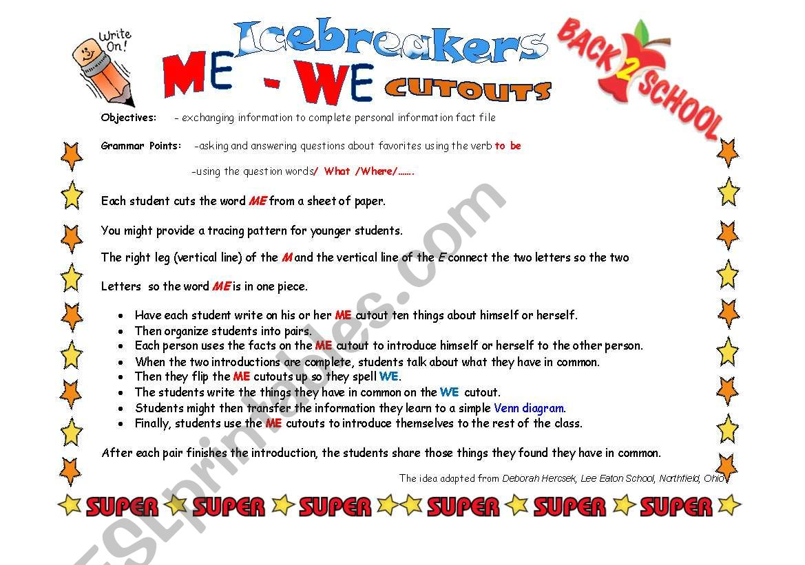 Back To School Icebreakers 4 Pages Pairwork Activity