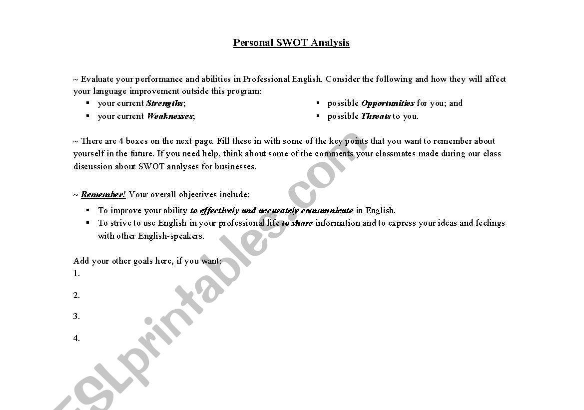 Personal Swotysis Worksheet