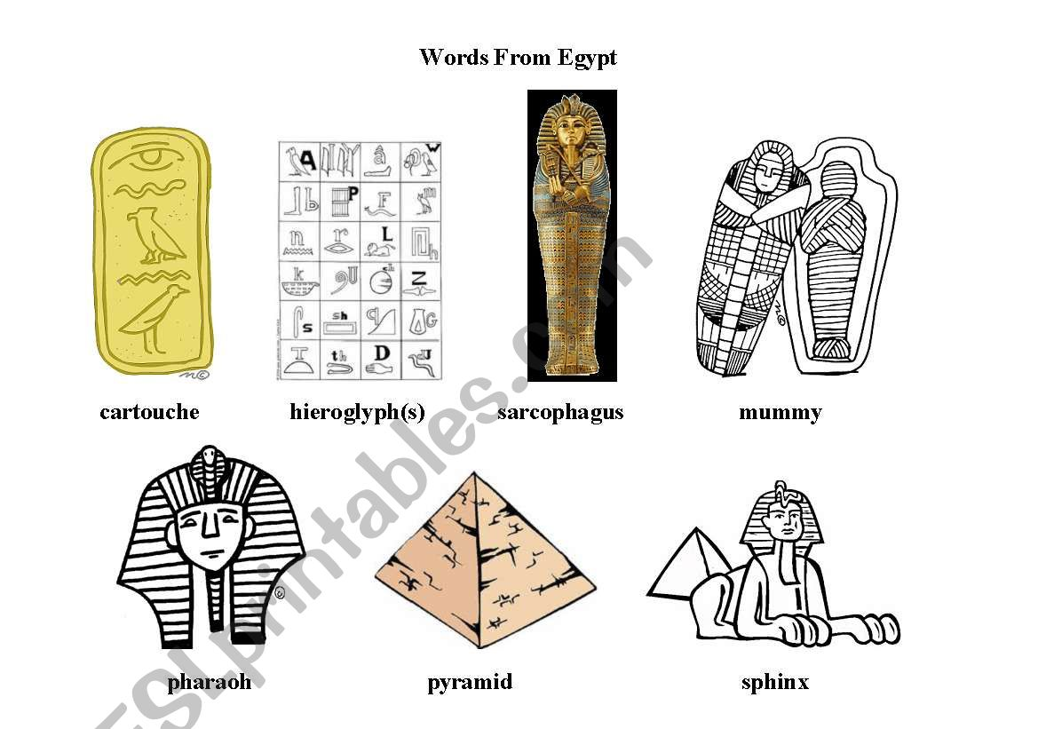 English Worksheets Words From Egypt