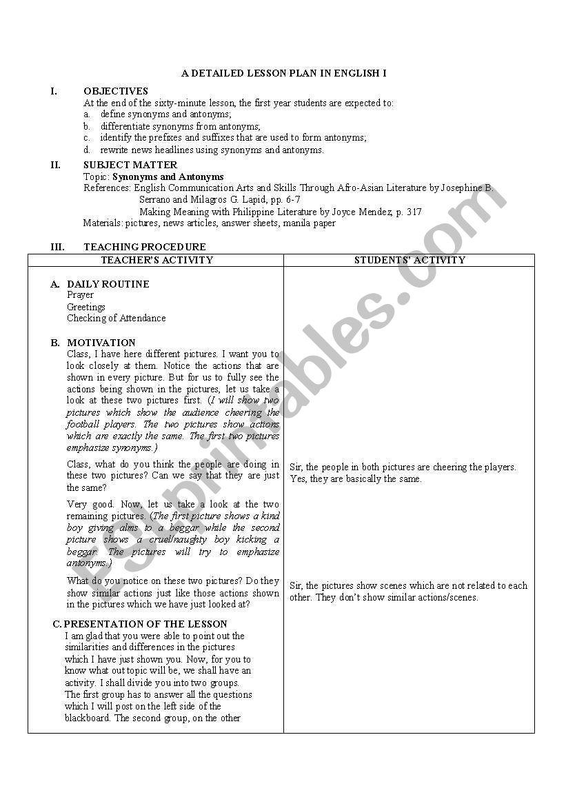 medium resolution of Detailed Lesson Plan in Antonyms and Synomyns - ESL worksheet by gorgamazda