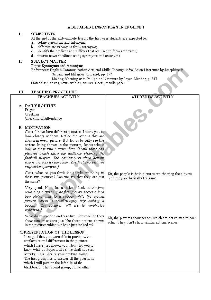 hight resolution of Detailed Lesson Plan in Antonyms and Synomyns - ESL worksheet by gorgamazda