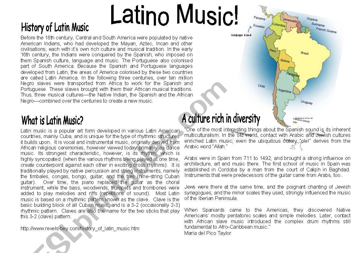 Latin American Music Worksheet