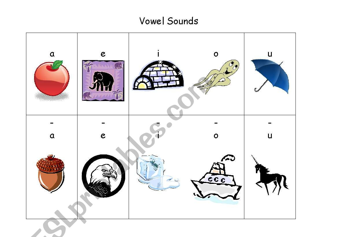 English Worksheets Phonics Vowel Sounds
