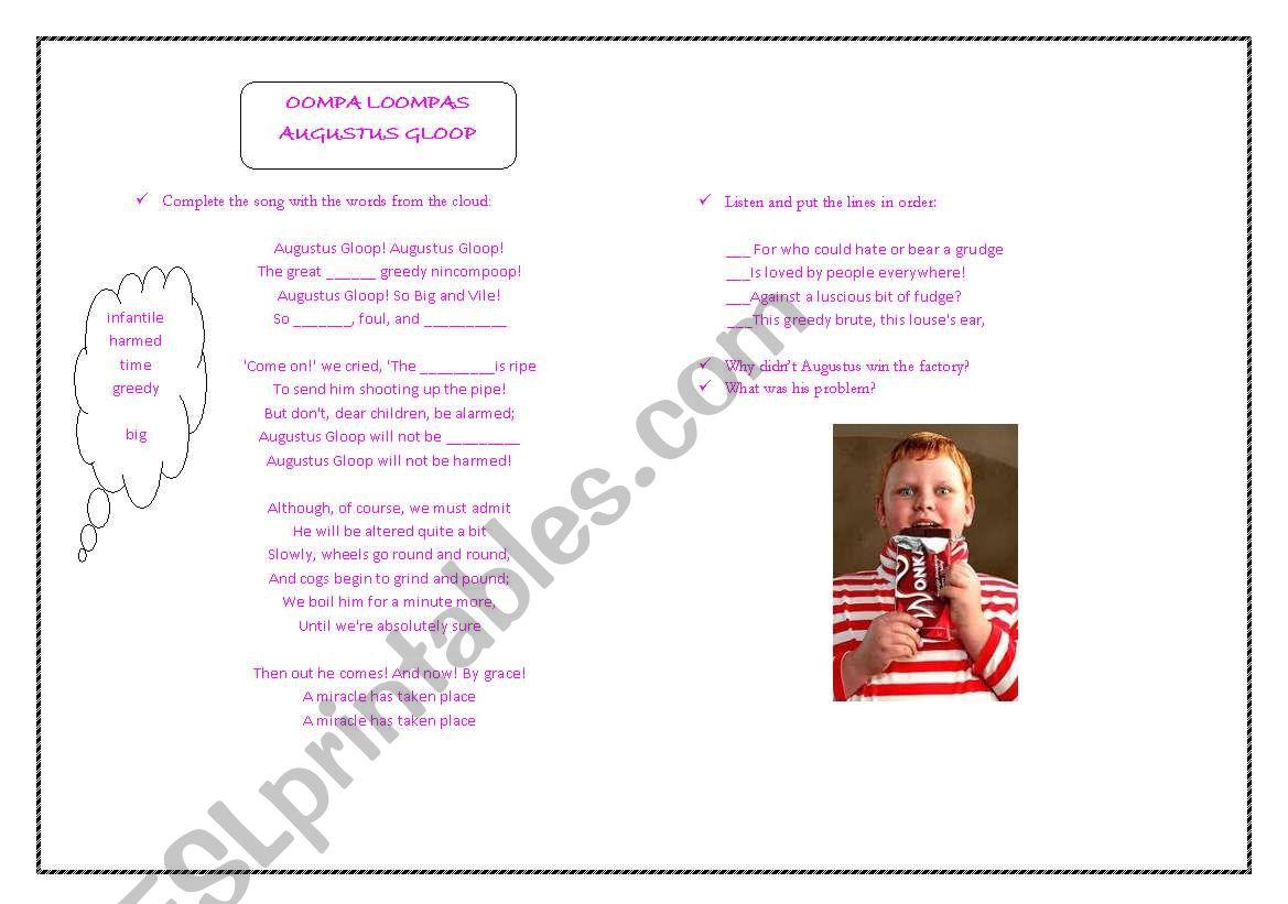 English Worksheets Roald Dahl S Day Augustus Gloop Song