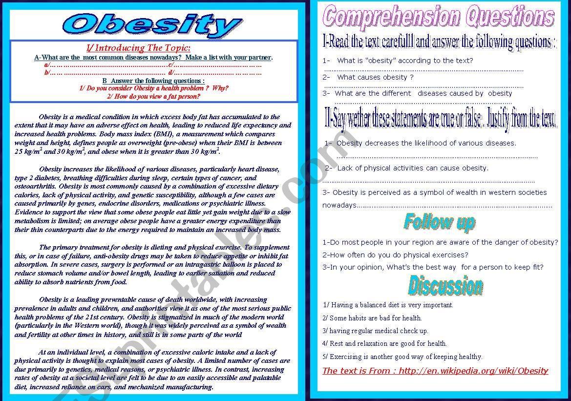 Obesity Reading Text