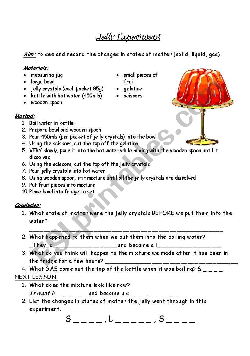 medium resolution of Changes in states of matter - ESL worksheet by ivd_01