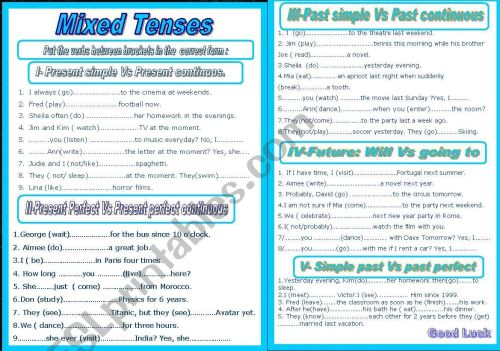 small resolution of English Mixed Tenses Worksheets   Printable Worksheets and Activities for  Teachers