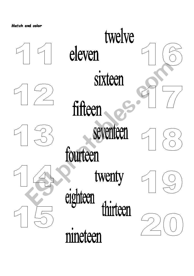 English worksheets: Numbers 11-20