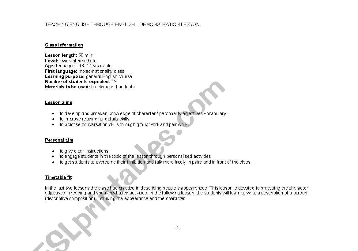 English Worksheets Lesson Plan