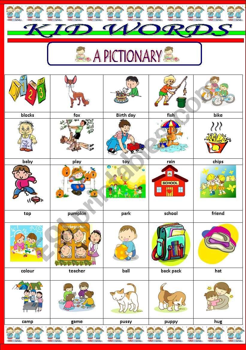 KID WORDS Vocabulary  ESL worksheet by jhansi