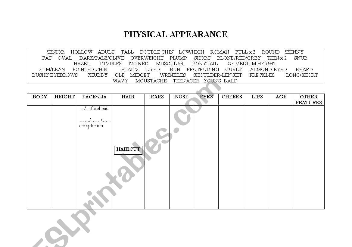 Physical Appearance Features A Table