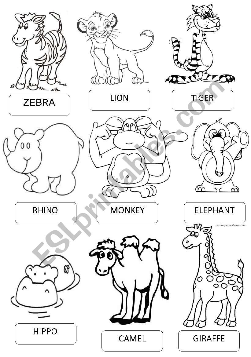 English worksheets: ZOO ANIMALS PICTIONARY