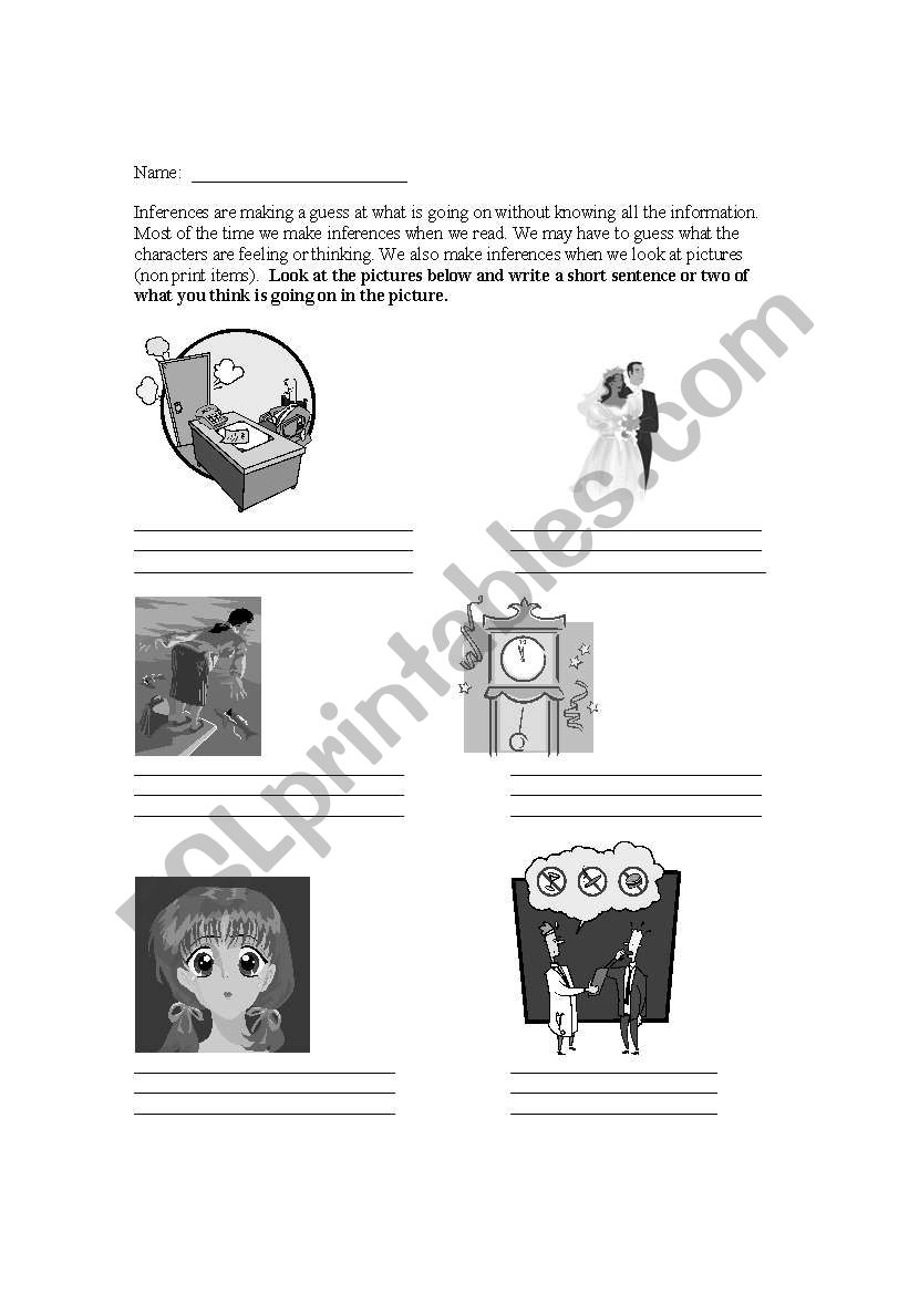 English worksheets: Non-print inferences