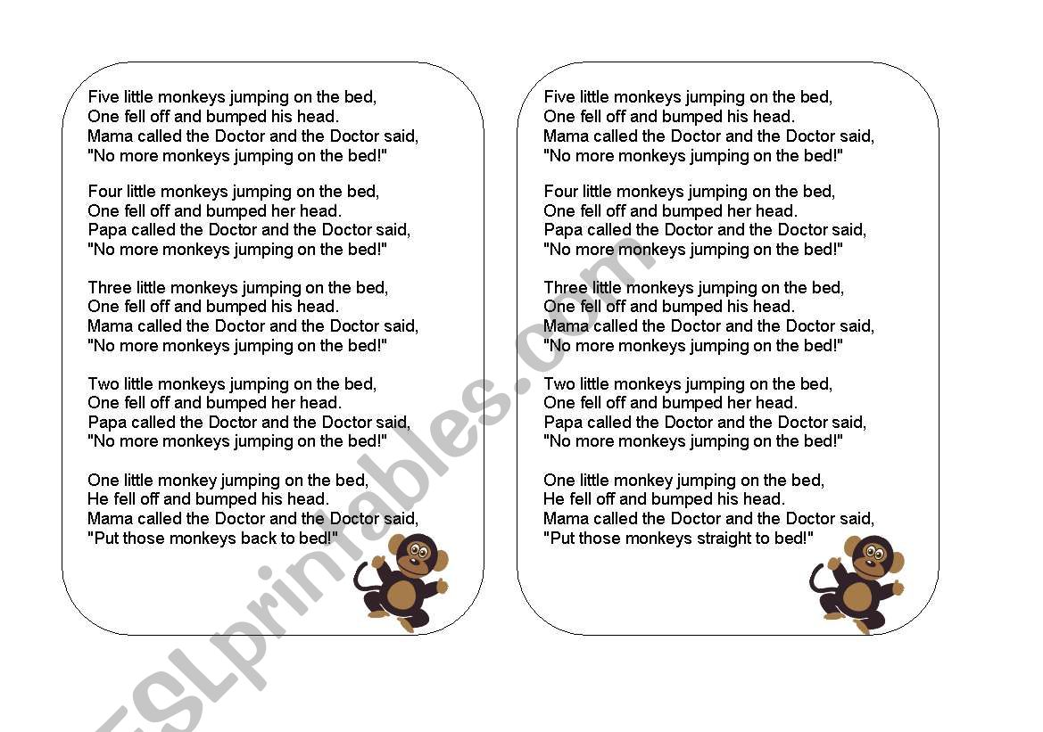 5 Little Monkeys Jumping On The Bed Lyrics Flashcards