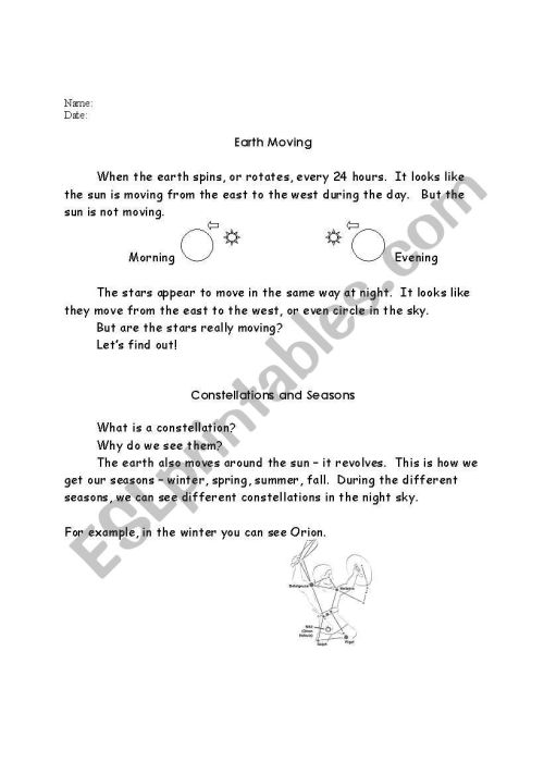 small resolution of English worksheets: Science and astronomy
