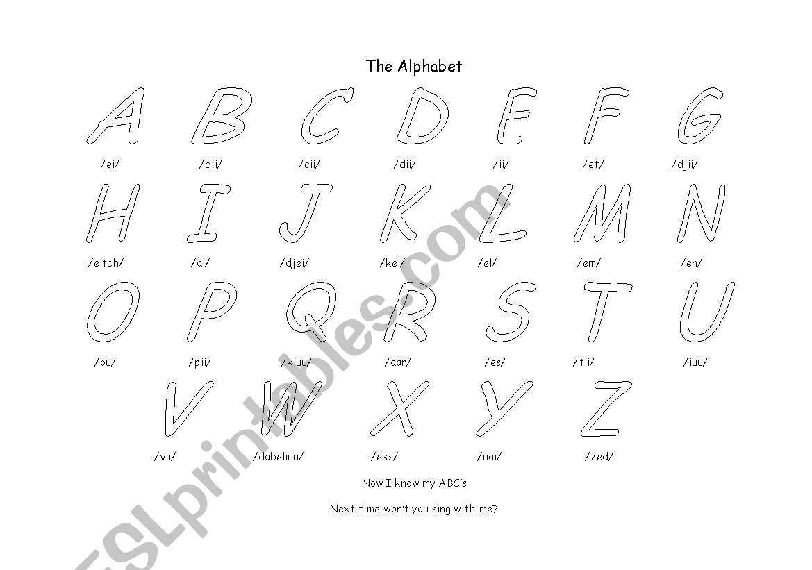 English Worksheets Colour The Alphabet And Sing The Song