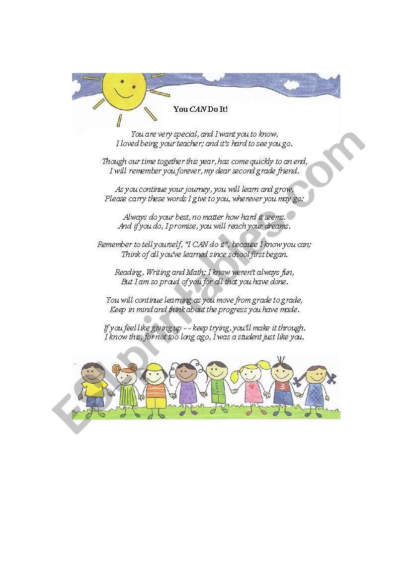 medium resolution of End of the Year Poem - ESL worksheet by kmullen86