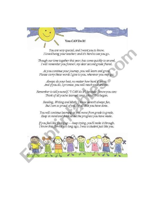 small resolution of End of the Year Poem - ESL worksheet by kmullen86