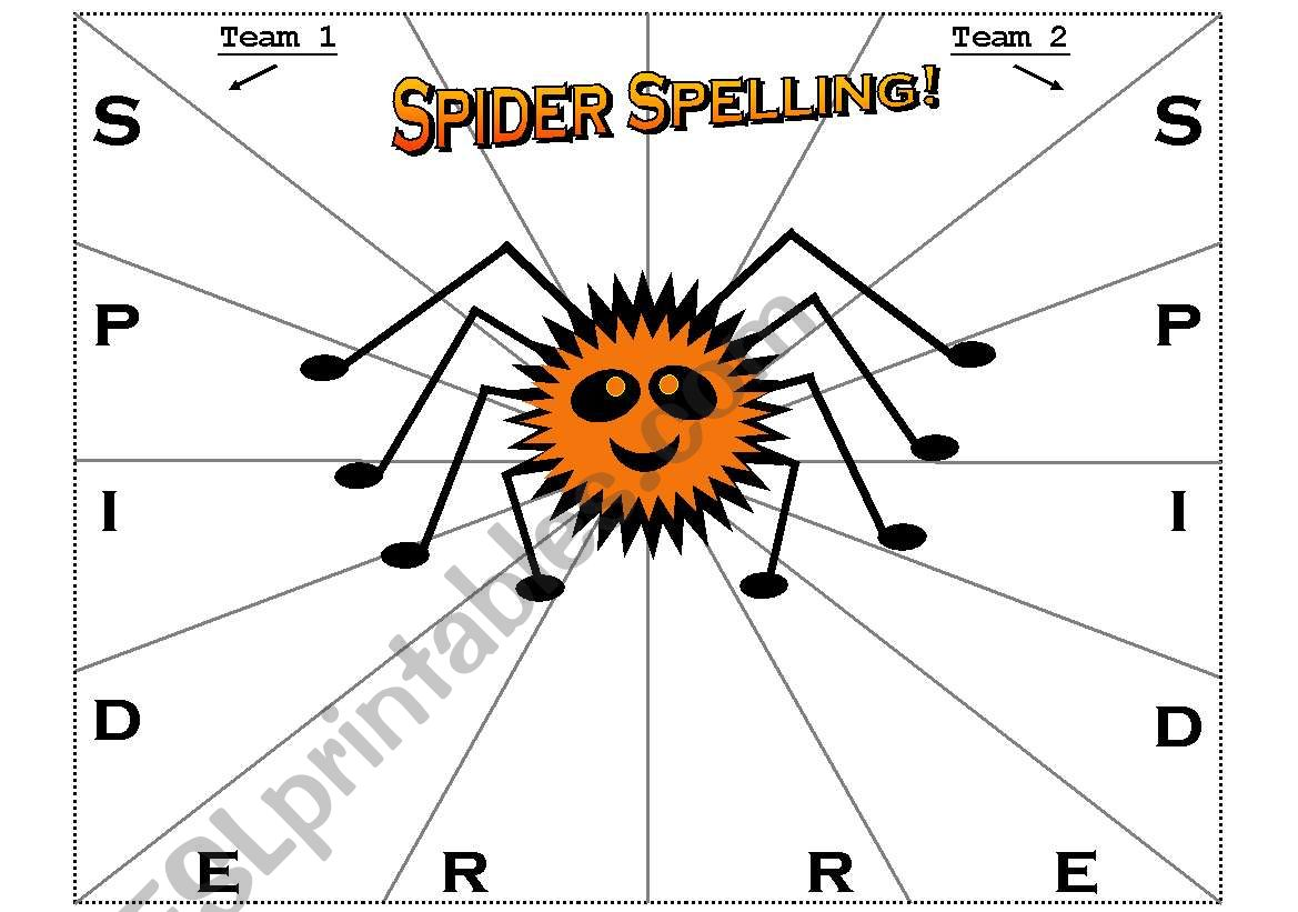 Spider Spelling Activity Sheet For Teams Or Pairs