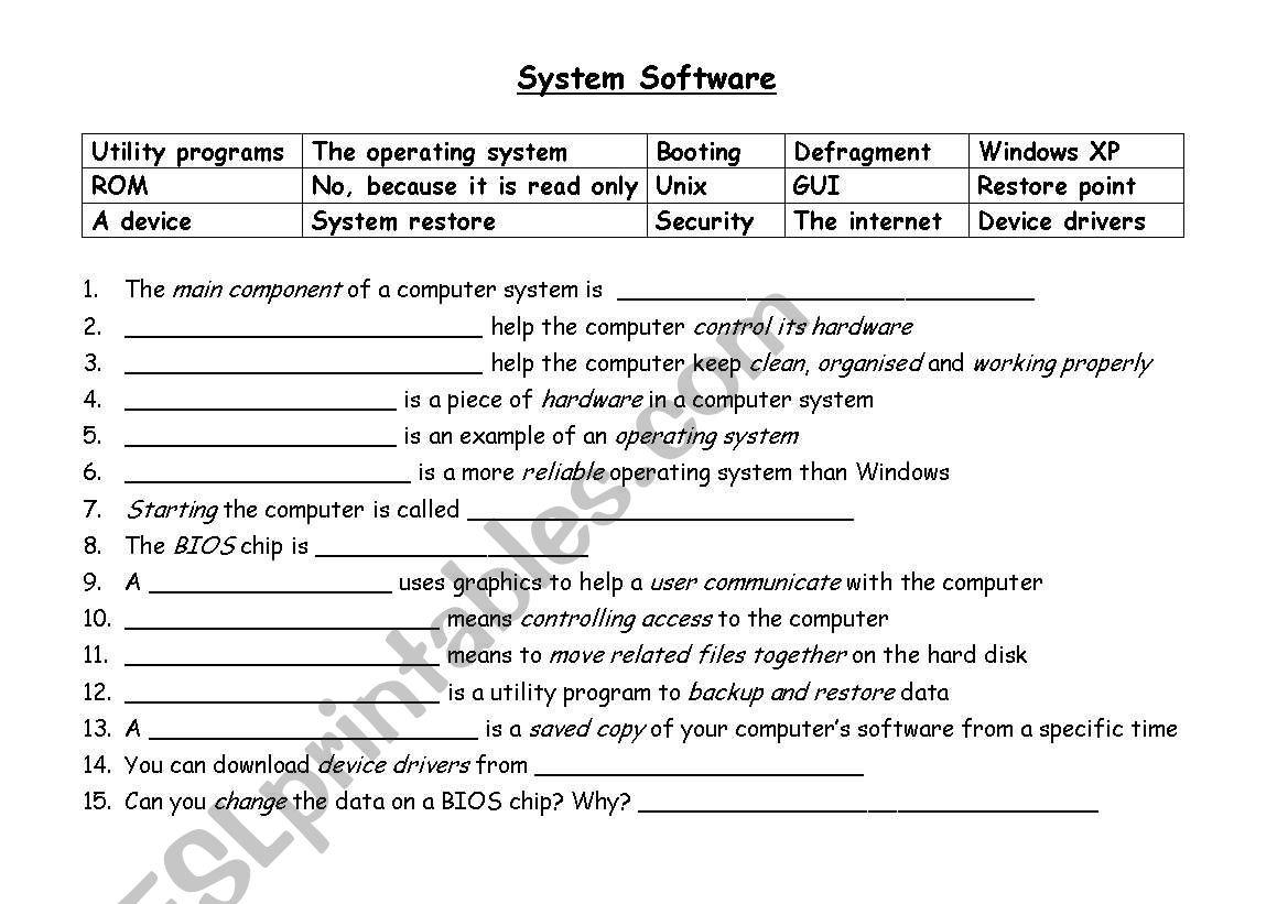 System Software Gapfill