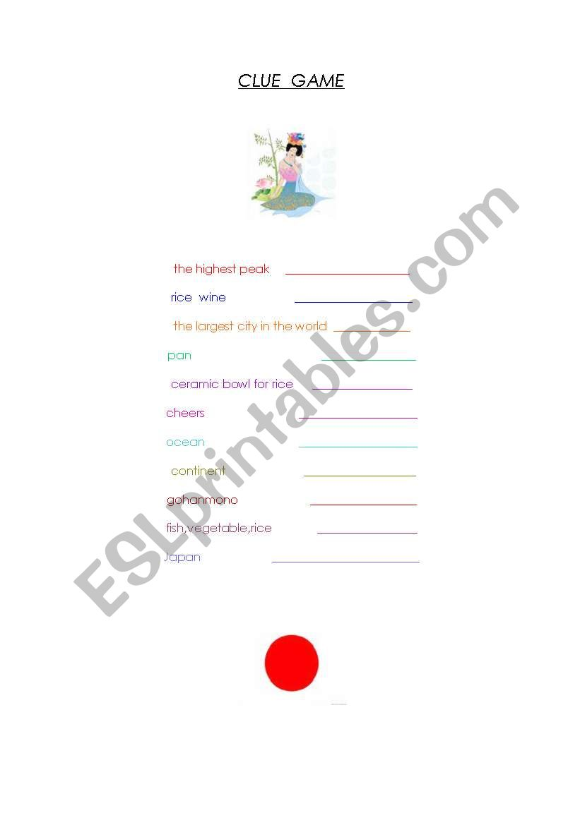 English worksheets: A clue game about Japan