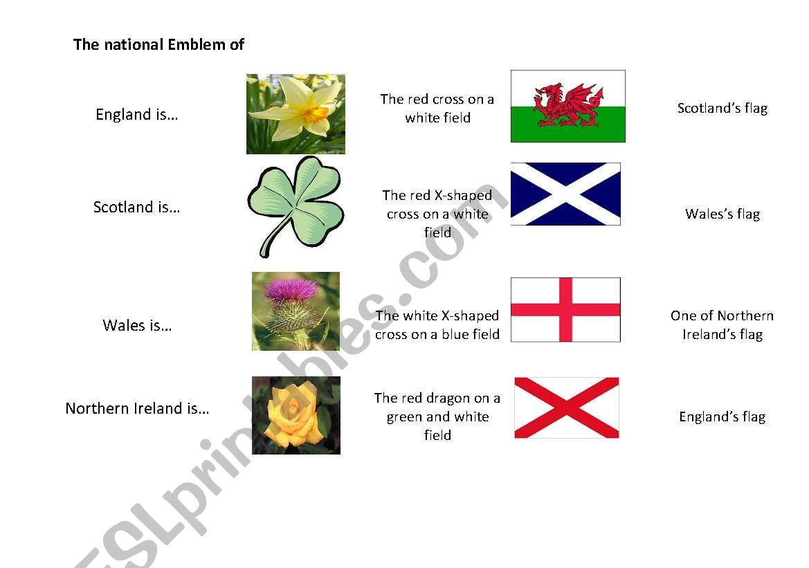 The Match Exercise About The Symbles And Flags Of The Uk