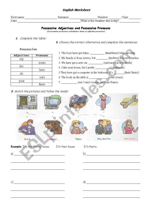 small resolution of Possessive Adjectives and Possessive Pronouns - ESL worksheet by eightyeight