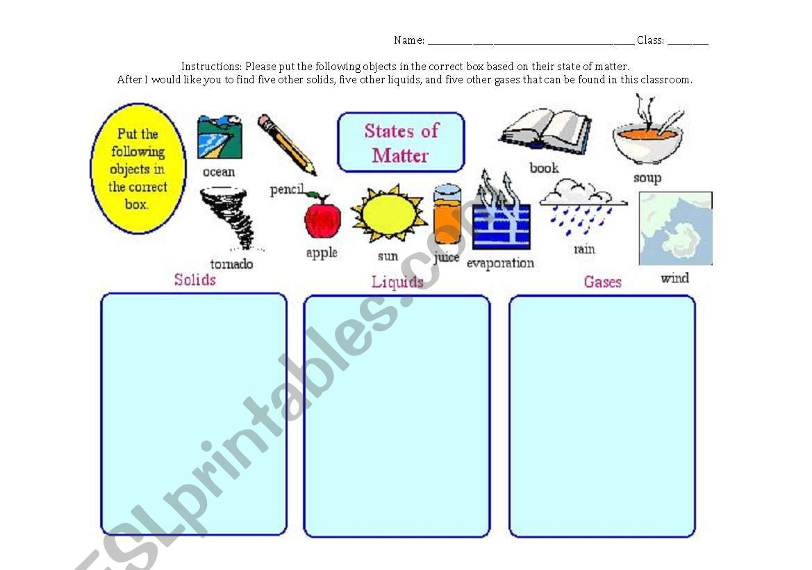 English Worksheets States Of Matter