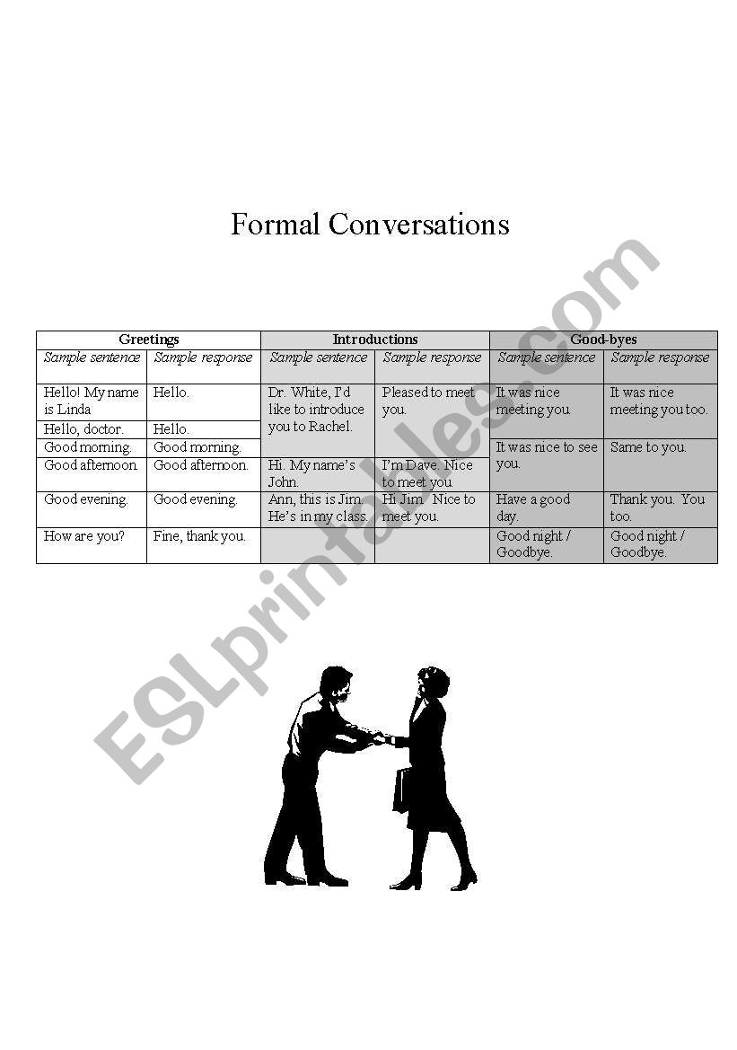 English worksheets: Formal Conversations