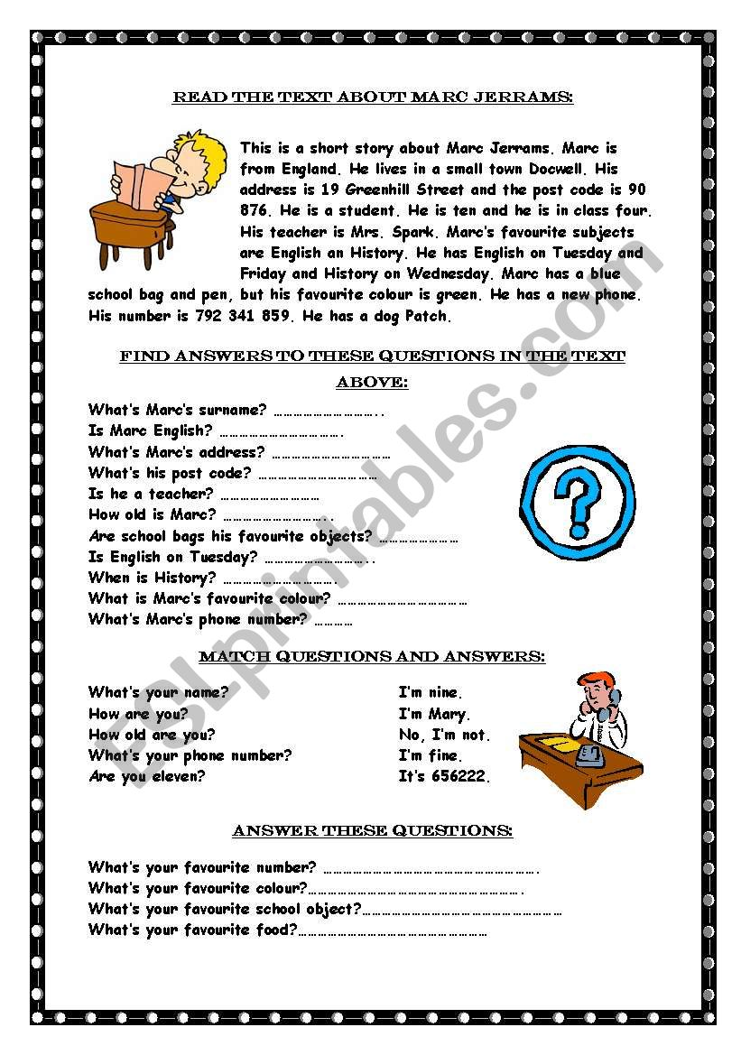hight resolution of Reading comprehension / Wh-questions - ESL worksheet by Marywell