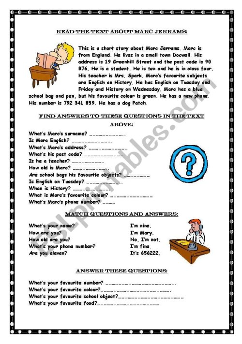 small resolution of Reading comprehension / Wh-questions - ESL worksheet by Marywell