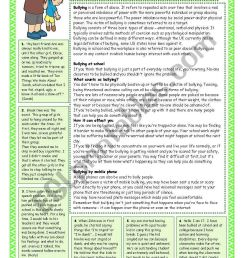 Bullying at school. Reading comprehension - ESL worksheet by coyote.chus [ 1169 x 821 Pixel ]