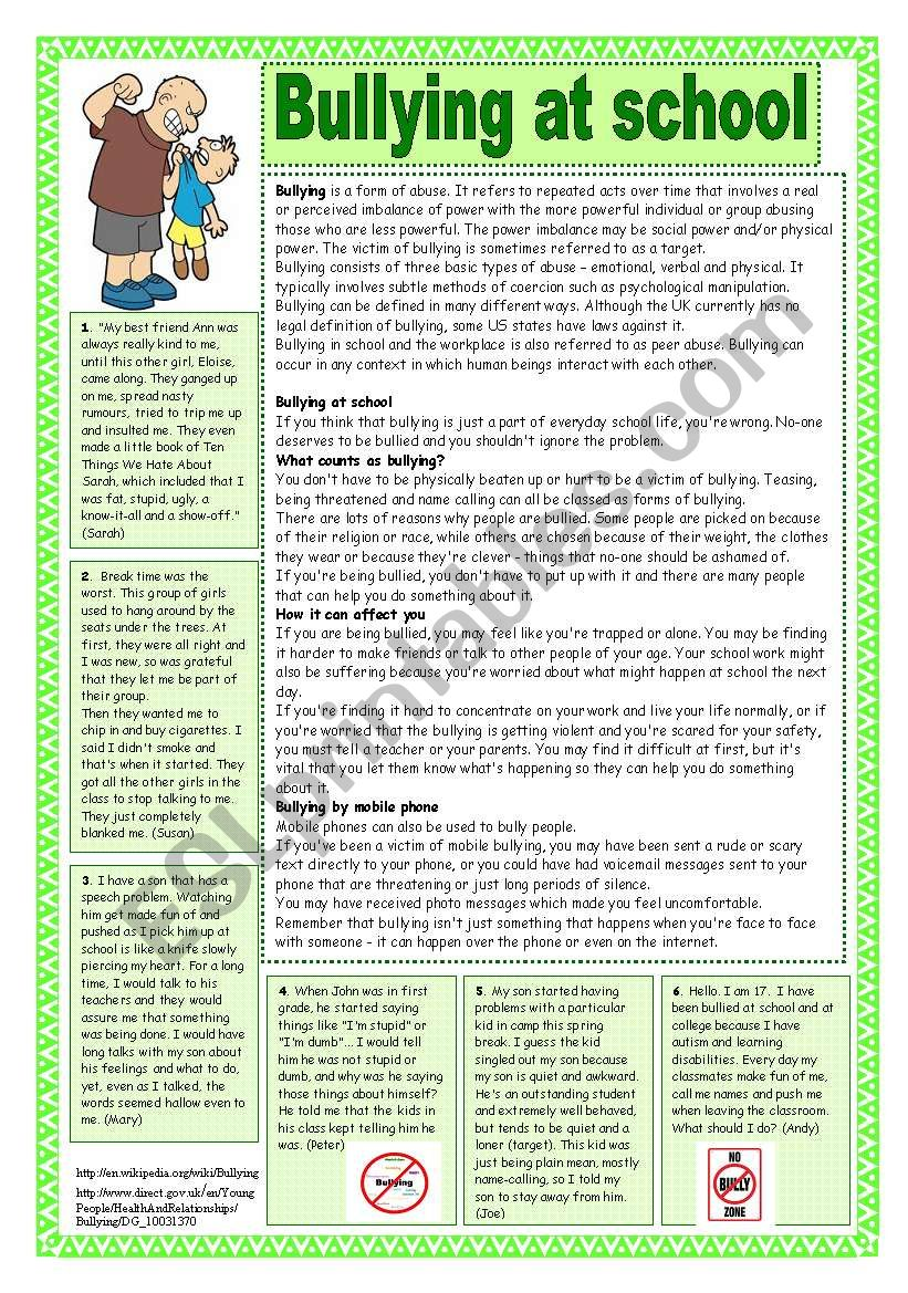 hight resolution of Bullying at school. Reading comprehension - ESL worksheet by coyote.chus